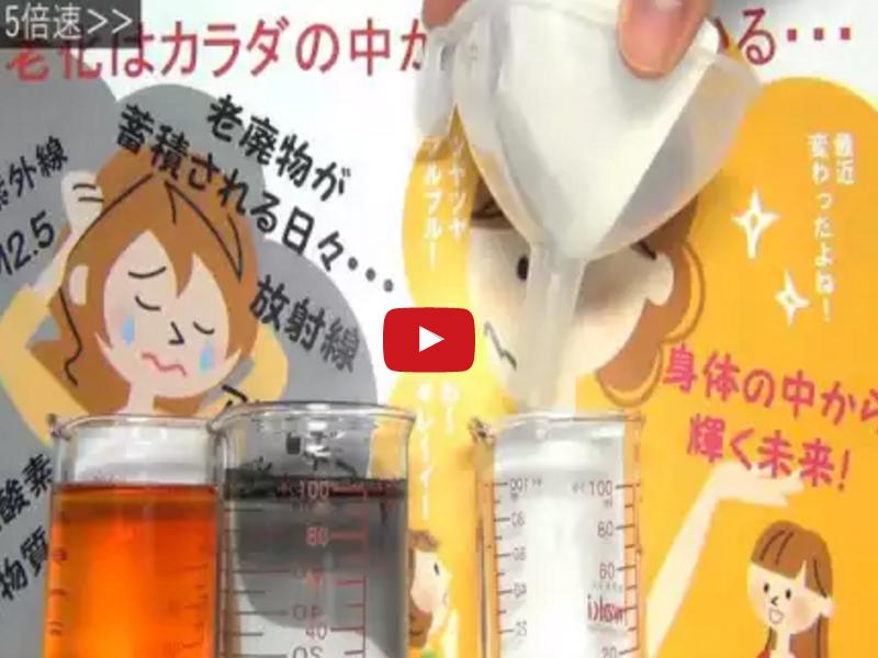 純炭によるヨウ素液吸着実験映像