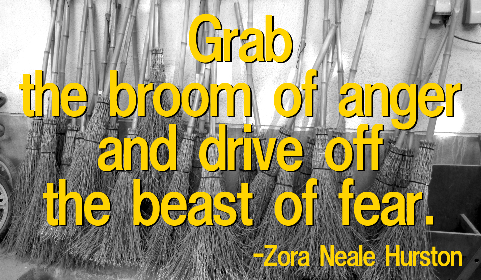 Grab the broom of anger and drive off the beast of fear. -Zora Neale Hurston