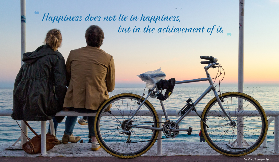 Happiness does not lie in happiness, but in the achievement of it. -Fyodor Dostoyevsky-