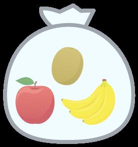 リンゴとバナナと一緒に袋へ